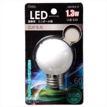 LEDミニボール球装飾用 G50/E26/1.3W/60lm/昼白色 [品番]06-3249