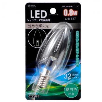 LED電球 シャンデリア形 E17 クリア 昼白色 [品番]07-6493