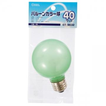 バルーンカラー球 E26 40W グリーン [品番]07-9632