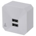 雷サージ軽減素子内蔵 ACチャージャー2400mA USB2個口 [品番]00-1248
