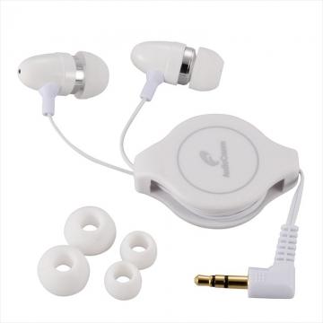 AudioComm ステレオイヤホン コードリール付 ホワイト [品番]03-1611