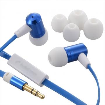 AudioComm ステレオイヤホン 音量コントローラー付 ブルー [品番]03-1653