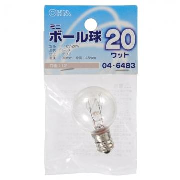 ミニボール球 G30 E12/20W クリア [品番]04-6483