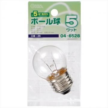 ミニボール球 G40 E26/5W クリア [品番]04-6528