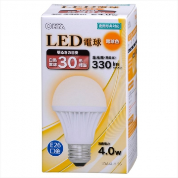 LED電球 E26 30形相当 電球色 [品番]06-3137