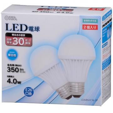 LED電球 30形相当 E26 昼白色 2個入 [品番]06-3150