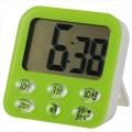 時計付き大画面 デジタルタイマー グリーン [品番]07-9600