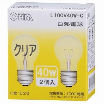 白熱電球 E26 40W クリア 2個入 [品番]06-0470