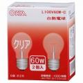 白熱電球 E26/60W クリア 2個入 [品番]06-0471