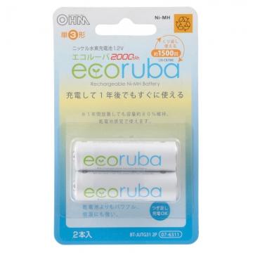 充電式電池 エコルーバ 単3×2本入 [品番]07-6311