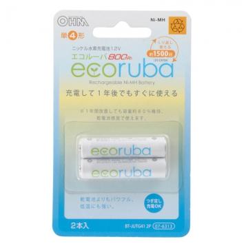充電式電池 エコルーバ 単4×2本入 [品番]07-6313