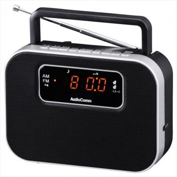 AudioComm デジタルクロックラジオ ブラック [品番]07-9723