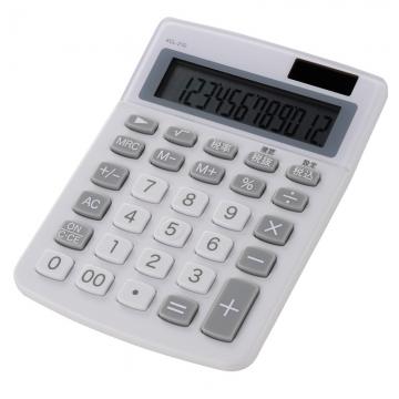 カラー 小型電卓 12桁 ホワイト [品番]07-9913