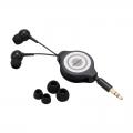 AudioComm ステレオイヤホン 巻取型 カナルタイプ ブラック [品番]03-2752