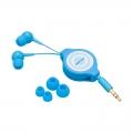 AudioComm ステレオイヤホン 巻取型 カナルタイプ ブルー [品番]03-2753