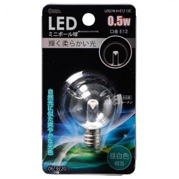 LEDミニボール球装飾用 G30/E12/0.5W/18lm/クリア昼白色 [品番]06-3220