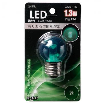 LED電球 装飾用 ミニボール E26 グリーン [品番]06-3247
