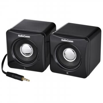 AudioComm ステレオミニスピーカー ブラック [品番]03-2047
