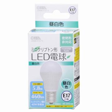 LED電球 ミニクリプトン形 E17 40形相当 昼白色 [品番]06-3020
