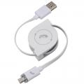 AudioComm 巻取り式 MicroUSBケーブル LED充電ランプ付 0.8m [品番]03-0307
