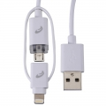 AudioComm 2in1 ライトニング&MicroUSB ケーブル LED充電ランプ付 1m [品番]03-0391