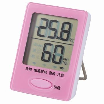 デジタル温湿度計 ピンク [品番]08-0051