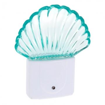 LEDナイトライト 明暗センサー シェル型 ブルー [品番]04-2689