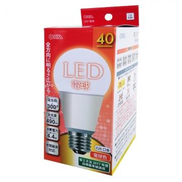 LED電球 40W相当 E26 電球色 全方向 密閉器具対応 [品番]06-0215