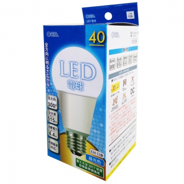 LED電球 E26 40形相当 昼光色 [品番]06-0217