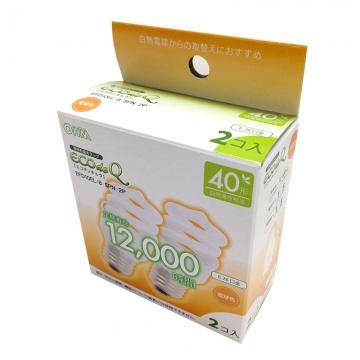電球形蛍光灯 スパイラル形 E26 40形相当 電球色 エコデンキュウ 2個入 [品番]06-0251
