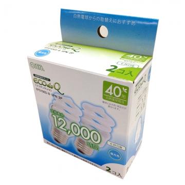 電球形蛍光灯 スパイラル形 E26 40W相当 昼光色 エコデンキュウ 2個入 [品番]06-0252