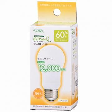電球形蛍光灯 E26 60W相当 電球色 エコデンキュウ [品番]06-0257
