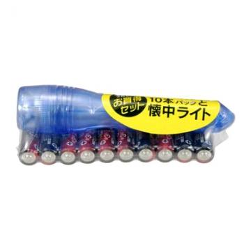 アルカリ乾電池 単3形×10本 ライト付 [品番]07-2938