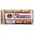Vアルカリ乾電池 単1形 4本パック [品番]07-9938