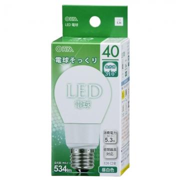 LED電球 40W相当 E26 昼白色 全方向 密閉器具対応 [品番]06-0210