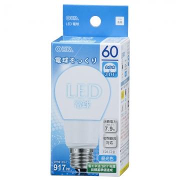 LED電球 60形相当 E26 昼光色 全方向 密閉器具対応 [品番]06-0214