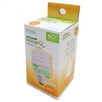 電球形蛍光灯 スパイラル形 E26 60W相当 電球色 エコデンキュウ [品番]06-0241