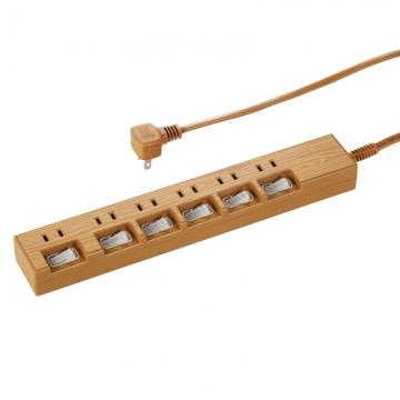 電源タップ 個別スイッチ付 木目調 6個口 2m [品番]00-1446