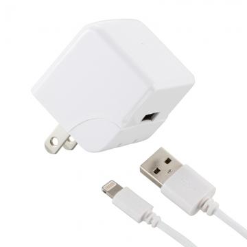 AudioComm AC充電器+ライトニングケーブル 2.4A 1m ホワイト [品番]01-7047