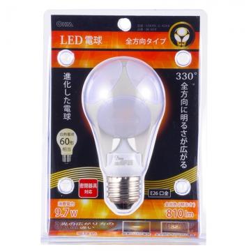 LED電球 ボール電球形 60W形相当 E26 電球色 [品番]06-1619