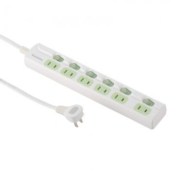 LED個別スイッチ付 節電タップ 6個口 2.5m [品番]00-1990