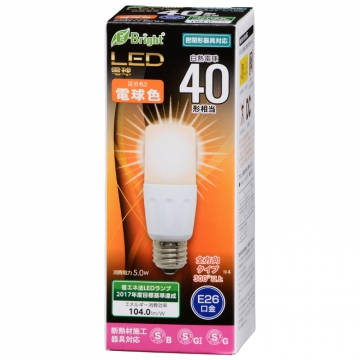 LED電球 T形 E26 40形相当 電球色 [品番]06-2939