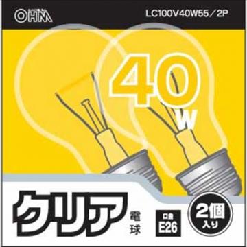 白熱電球 E26 40W クリア 2個入 [品番]06-1758