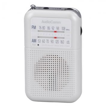 AudioComm 2バンドポケットラジオ ホワイト [品番]07-8152