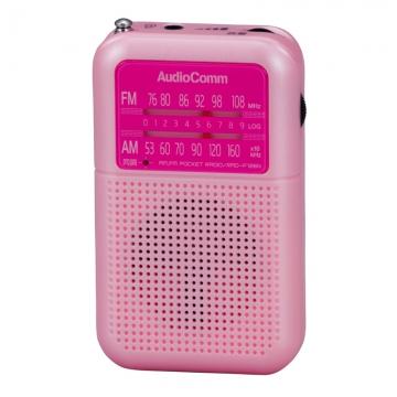 AudioComm 2バンドポケットラジオ ピンク [品番]07-8154