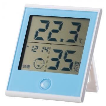 時計付き温湿度計 ブルー [品番]08-0021