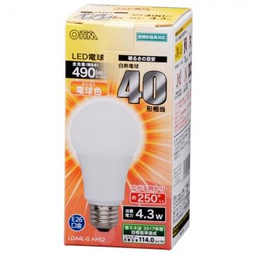 LED電球 40形相当 E26 電球色 広配光 密閉器具対応 [品番]06-3282