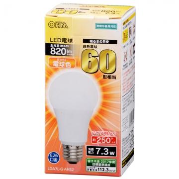 LED電球 一般電球形 60形相当 E26 電球色 [品番]06-3284