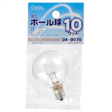 ミニボール球 G-40 E12/110V/10W クリア [品番]04-9070
