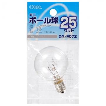 ミニボール球 G-40 E12/25W クリア [品番]04-9072